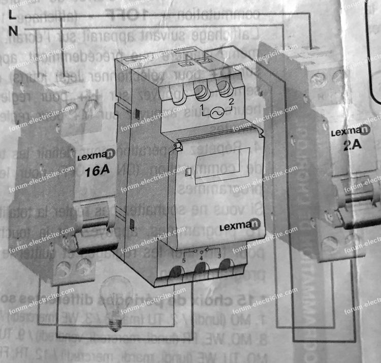 schéma câblage horloge programmable Lexman 16A