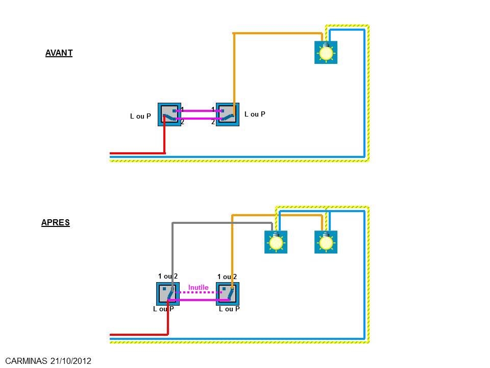 Transformer branchement lectrique syst me va et vient allumage simultan pa - Branchement va et vient en interrupteur simple ...