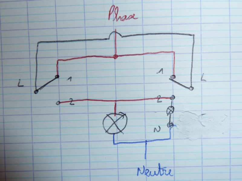 bricovid o question lectricit probl me branchement va et vient le t moin lumineux reste allum. Black Bedroom Furniture Sets. Home Design Ideas