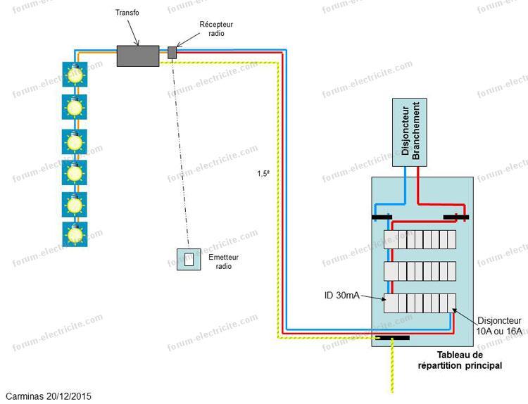 schéma câblage va et vient modifier en deux éclairages distincts