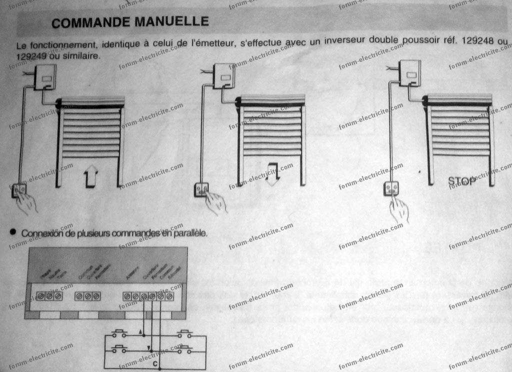 Bricovid o lectricit inverseur double poussoir pour for Branchement porte garage electrique