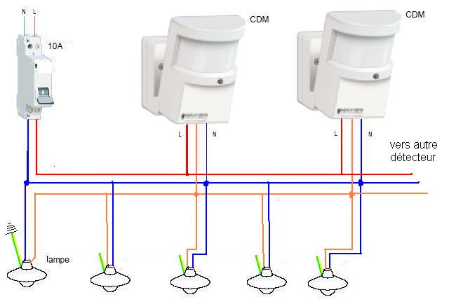 Conseils branchement lectrique installation clairage for Lumiere exterieur avec detecteur