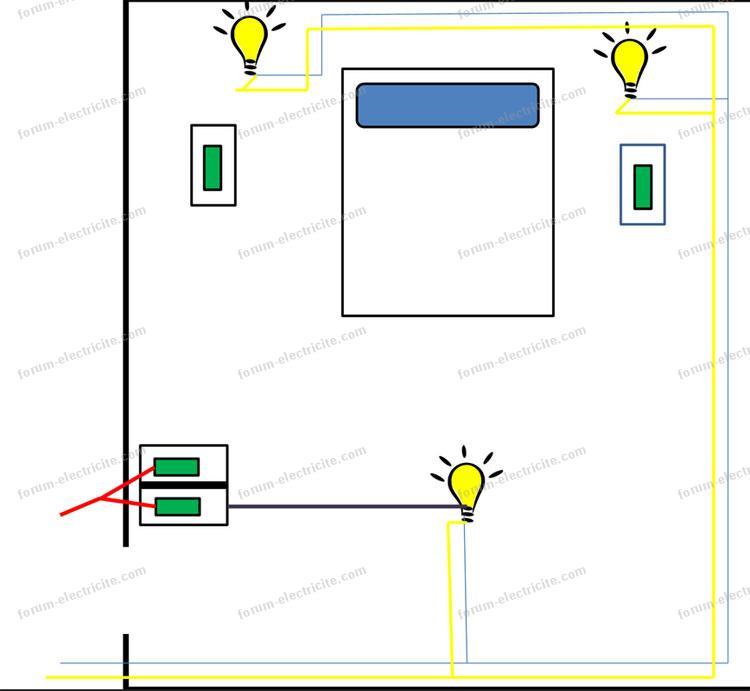 schéma double Va et Vient avec interrupteurs
