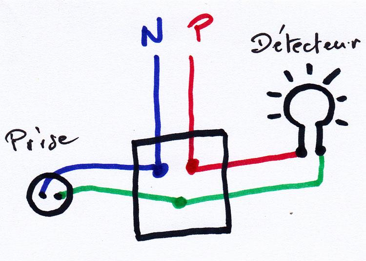 schéma branchement détecteur de mouvements