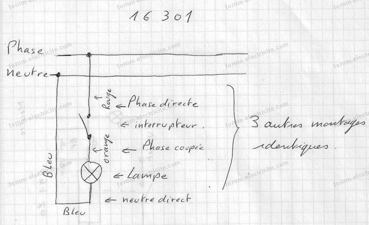 schéma électrique 4 ampoules avec 4 interrupteurs