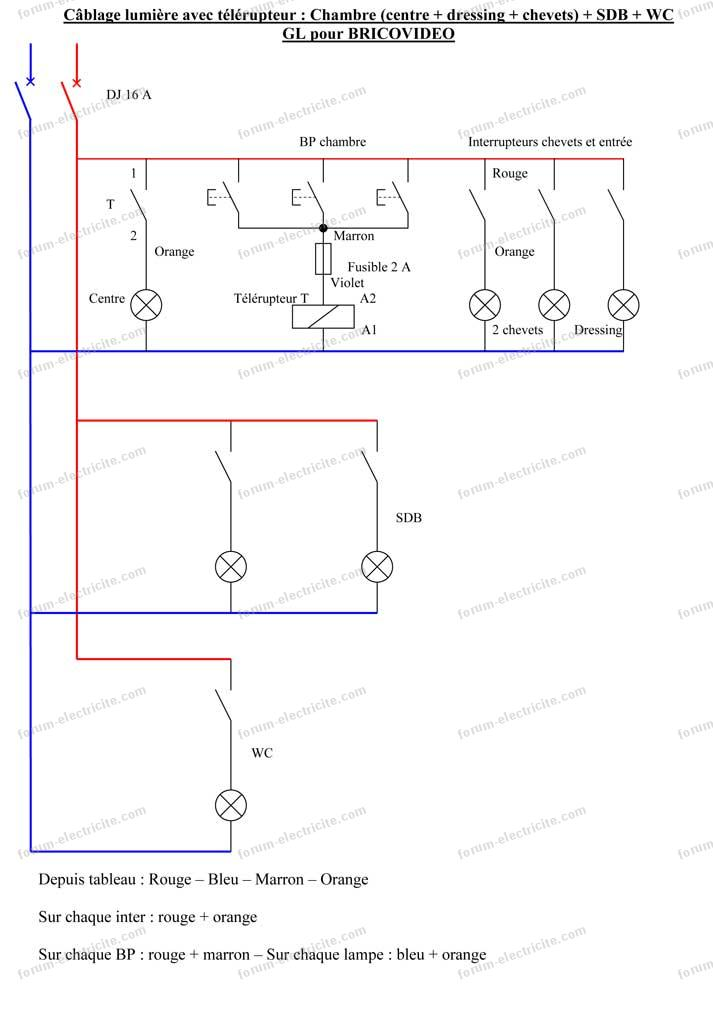 sch ma lectrique branchement clairage chambres conseils installation lectricit maison. Black Bedroom Furniture Sets. Home Design Ideas
