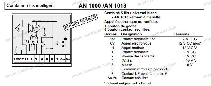 schéma interphone bitron an1000