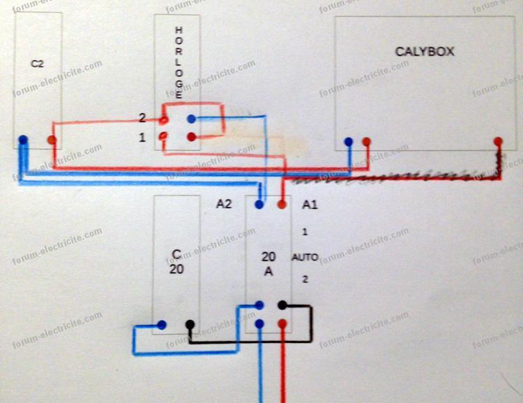 schéma raccordement interrupteur horaire