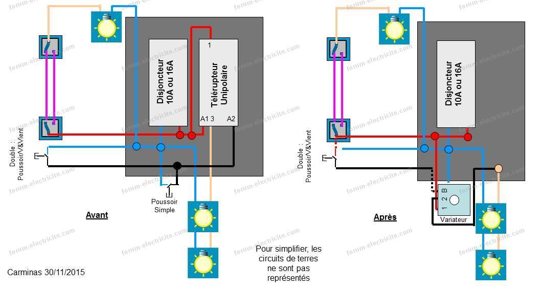 schéma interrupteur variateur remplacement télérupteur