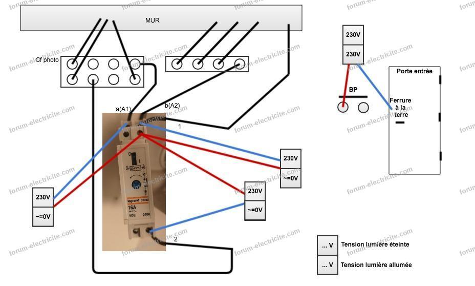 schéma câblage modifié télérupteur