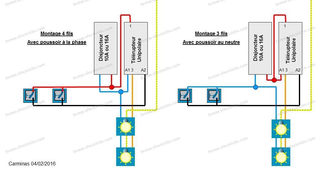 schéma montage avec télérupteur