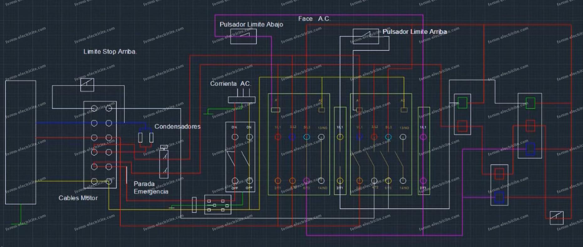 schéma circuit monte-charge avec palan