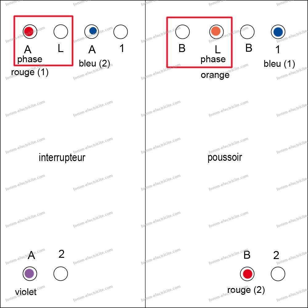 schéma OK interrupteur double poussoir