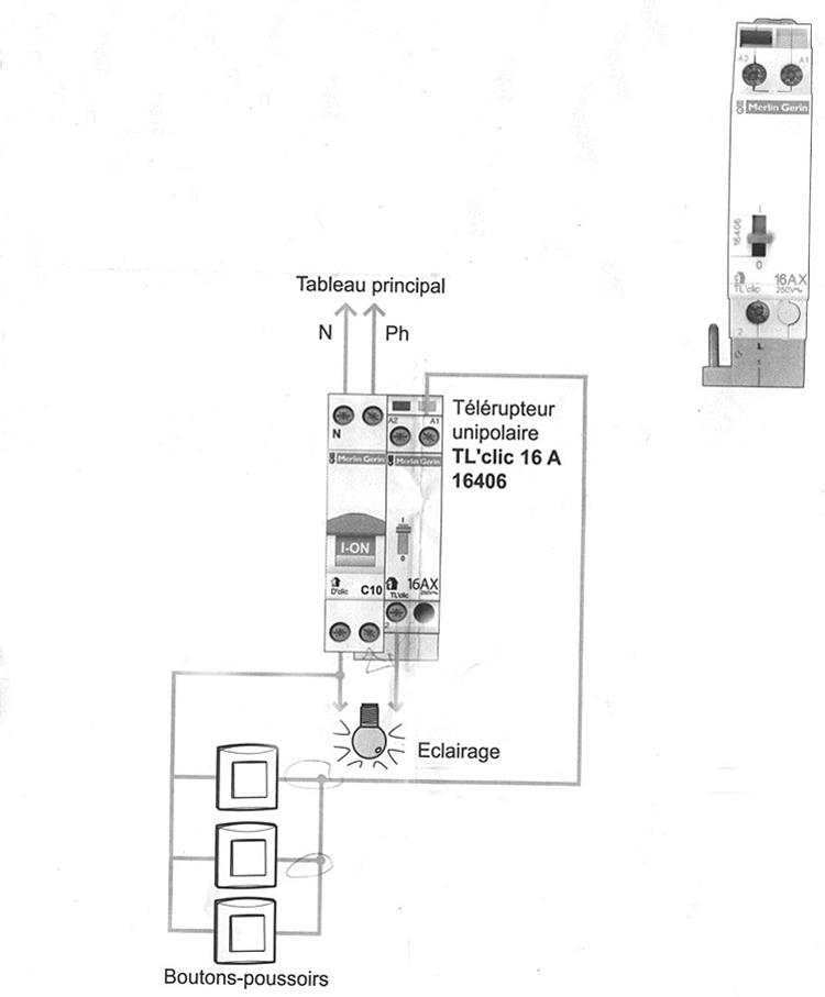 cablage telerupteur schneider 16ax  cablage telerupteur