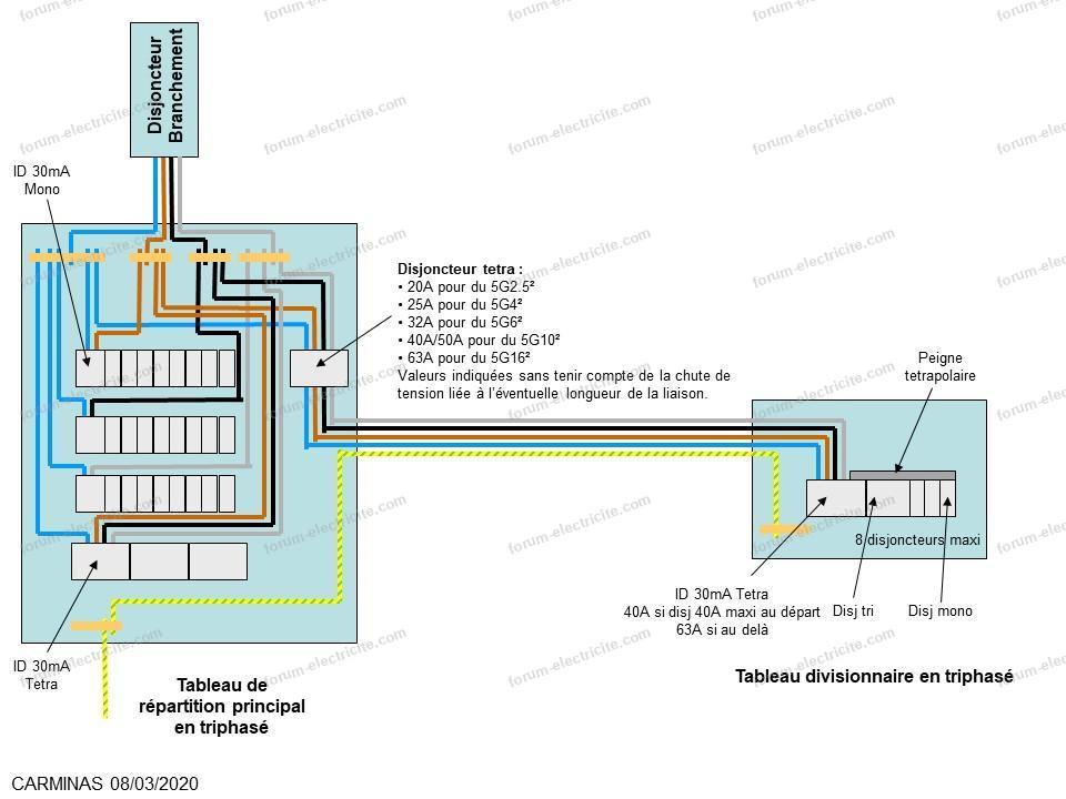 schéma protection tableau divisionnaire
