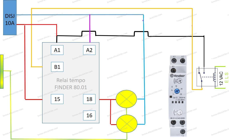 schéma relais temporise Finder 230v