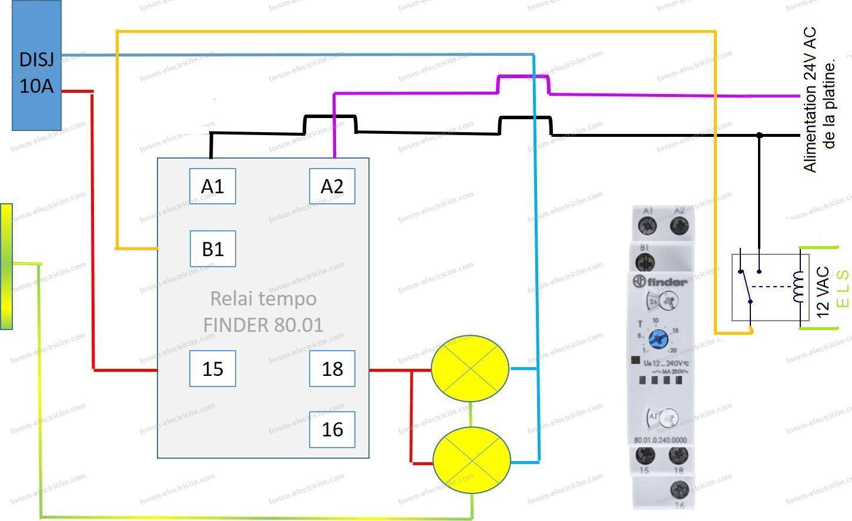 schéma relais temporise Finder 24v