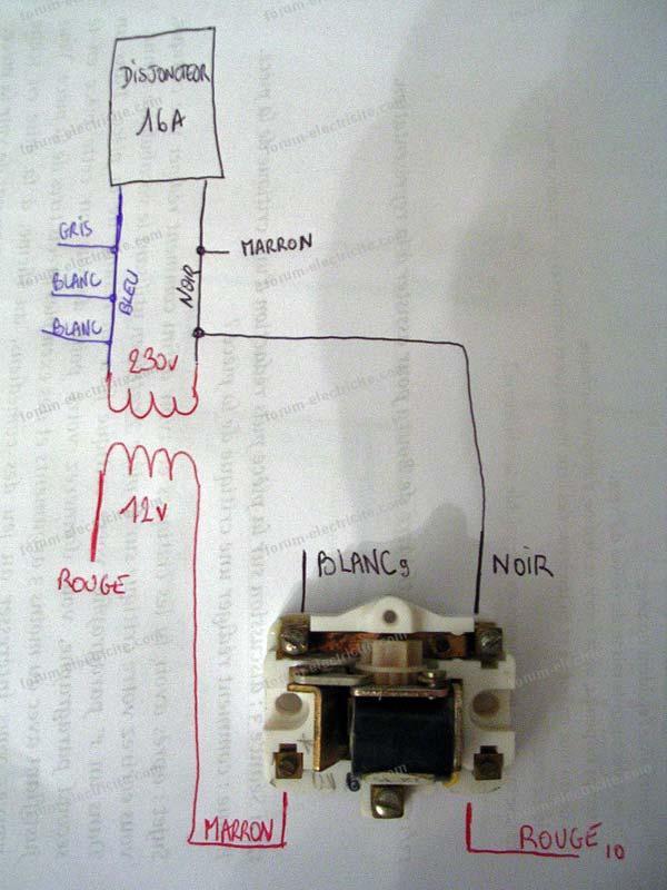 schéma remplacement ancien télérupteur 12VDC