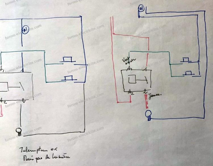 schéma remplacement télérupteur GM 45000