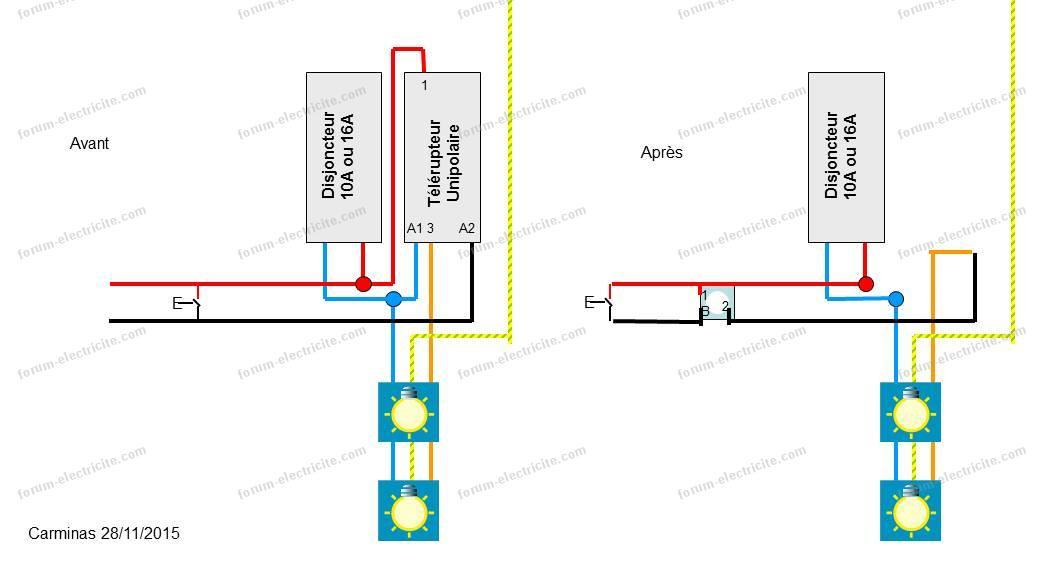 schéma branchement interrupteur  en remplacement d-un télérupteur