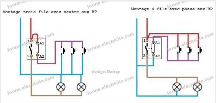 schema telerupteur 3 et 4 fils