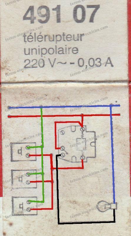 schéma couleurs télérupteur 491 07