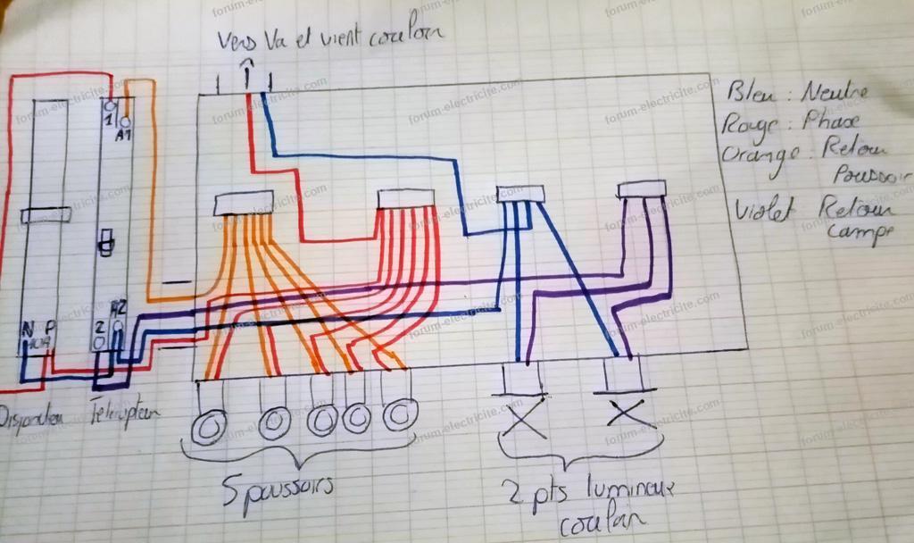 schéma télérupteur et va et vient sur le même circuit