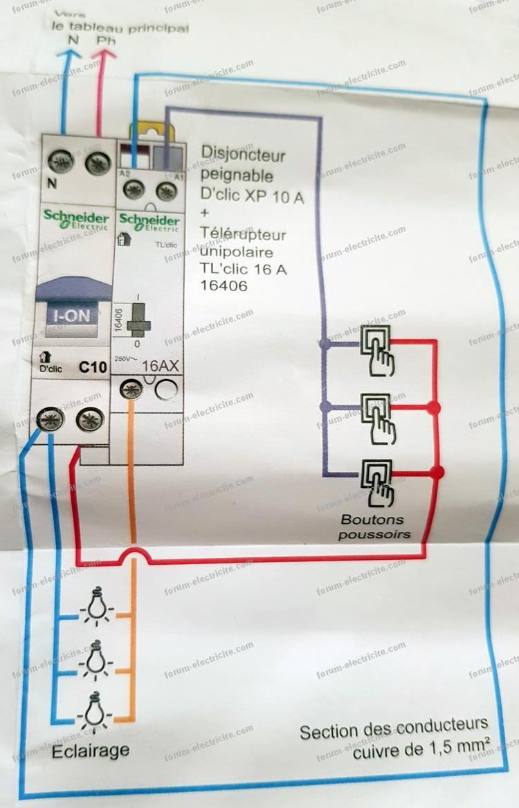 schéma télérupteur Schneider Electric TL'clic 16A 250V