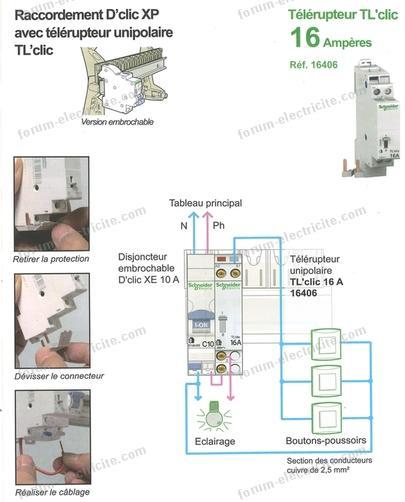 schéma branchement télérupteur TL Schneider 16406