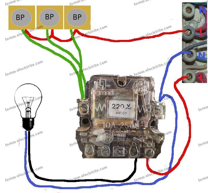 schéma remplacement télérupteur