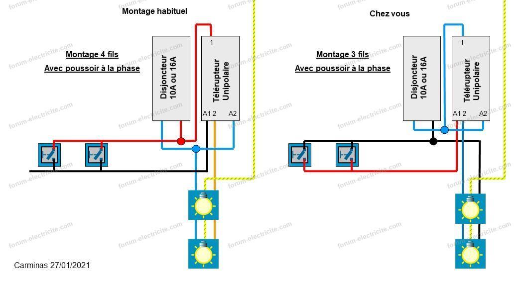 schémas branchement télérupteur 4 BP