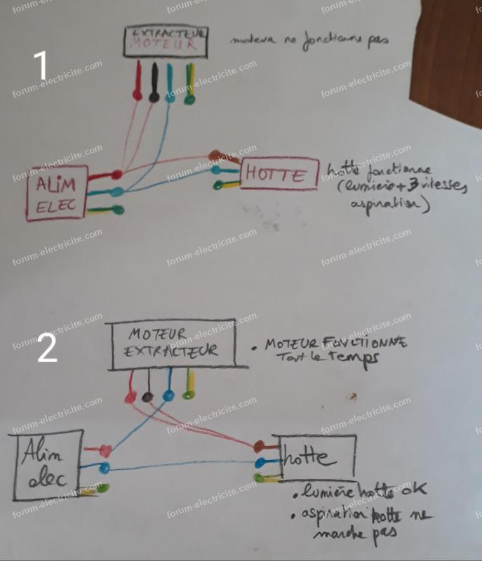 schémas raccordement électrique hotte aspirante