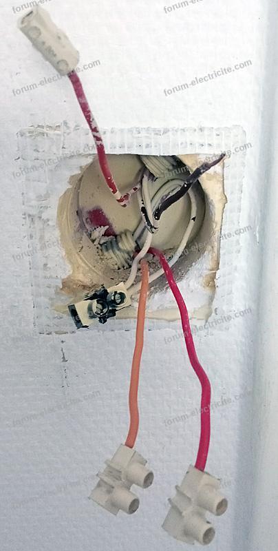 Sortie des fils branchement interrupteur double
