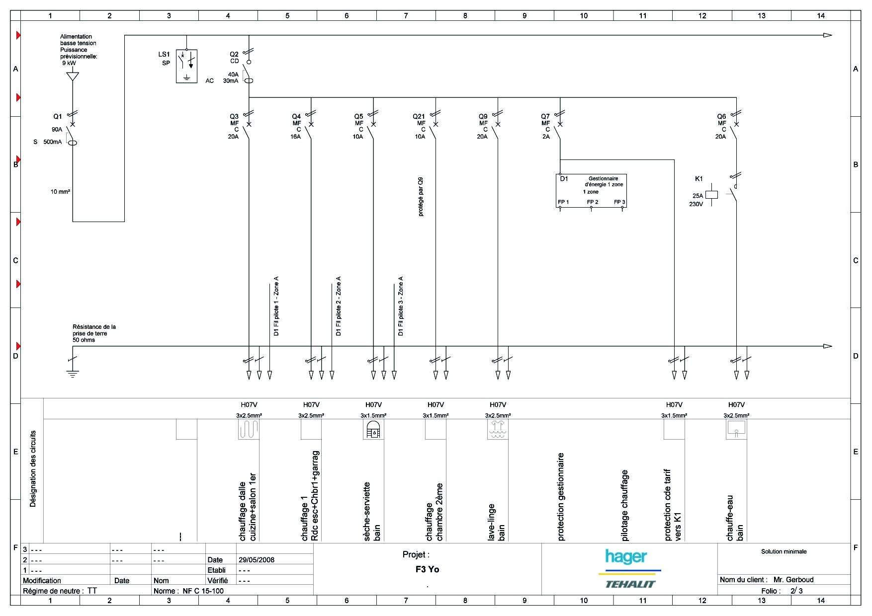 Normes novelle installation lectrique sh ma de c blage tableau lectrique - Cablage tableau electrique ...