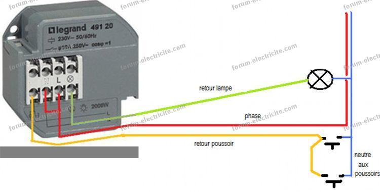 Forum lectricit conseils remplacement t l rupteur 3 fils avec neutre au poussoir - Branchement luminaire 3 fils ...