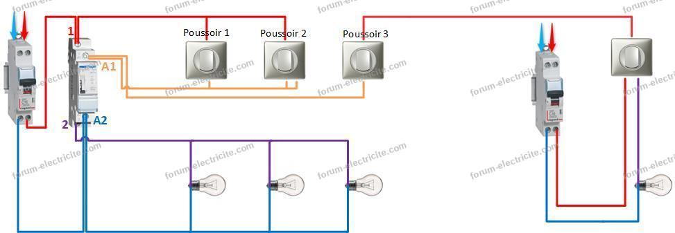 branchement boutons poussoirs télérupteur