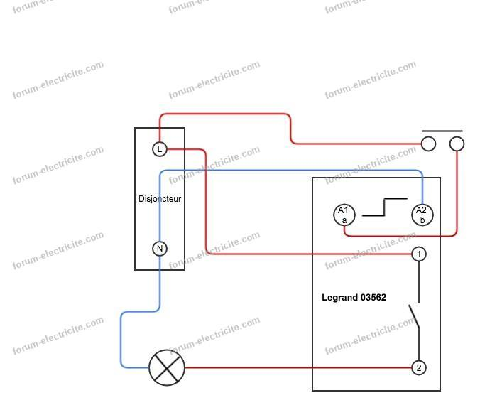 schéma câblage télérupteur Legrand