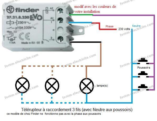 schéma télérupteur finder 3 fils