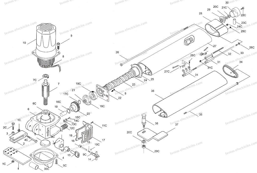 Forum lectricit branchement capteurs fin de course - Vue eclatee moteur ...